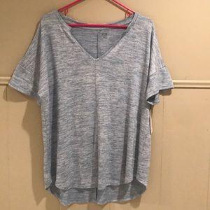 Ana dusty blue shirt sleeve sweater top